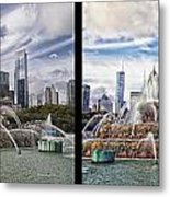 Chicago Buckingham Fountain 2 Panel Looking West And North Black Metal Print