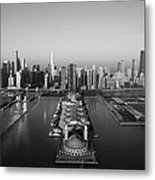 Chicago By Air Bw Metal Print