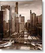 Chicago City View Afternoon B And W Metal Print