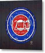 Chicago Cubs Baseball Team Retro Vintage Logo License Plate Art Metal Print by Design Turnpike