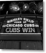 Chicago Cubs Win Fireworks Night B W Metal Print