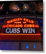 Chicago Cubs Win Fireworks Night Metal Print