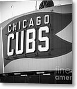 Chicago Cubs Wrigley Field Sign Black And White Picture Metal Print by Paul Velgos