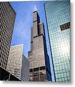 Chicago Downtown City Buildings With Willis-sears Tower Metal Print