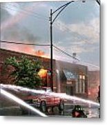 Chicago Firemen At Work Metal Print