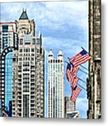 Chicago - Flags Along Michigan Avenue Metal Print