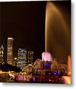 Chicago Fountain At Night Metal Print