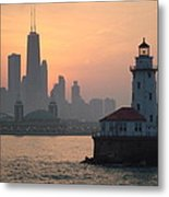 Chicago Harbor Lighthouse At Sunset Metal Print
