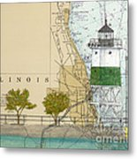 Chicago Harbor Se Guidewall Lighthouse Il Nautical Chart Art Metal Print