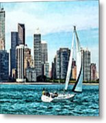 Chicago Il - Sailboat Against Chicago Skyline Metal Print