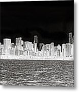 Chicago In Black And White Metal Print