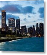 Chicago Lake Front At Blue Hour Metal Print