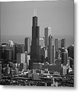 Chicago Looking East 02 Black And White Metal Print