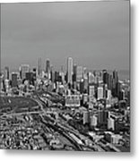 Chicago Looking North 01 Black And White Metal Print