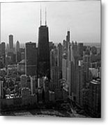 Chicago Looking South 01 Black And White Metal Print