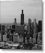 Chicago Looking West 01 Black And White Metal Print