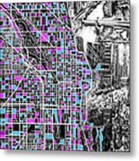 Chicago Map Drawing Collage 4 Metal Print