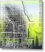 Chicago Map Gradient Metal Print