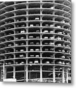 Chicago Marina City Parking Bw Metal Print