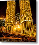 Chicago Marina City Towers At Night Picture Metal Print