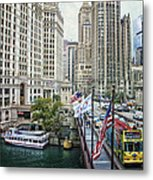 Chicago Michigan Avenue V Hdr Textured Metal Print