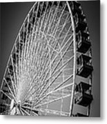 Chicago Navy Pier Ferris Wheel In Black And White Metal Print