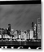 Chicago Panorama At Night Metal Print