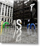 Chicago Picasso In The Rain Metal Print