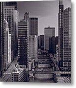 Chicago River Bridges South Bw Metal Print