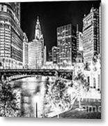 Chicago River Buildings At Night In Black And White Metal Print by Paul Velgos