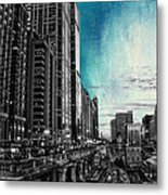 Chicago River Hdr Sc Textured Metal Print