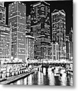Chicago River Skyline At Night Black And White Picture Metal Print