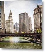 Chicago River Skyline At Wabash Avenue Bridge Metal Print