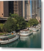 Chicago River Tour Boats Metal Print