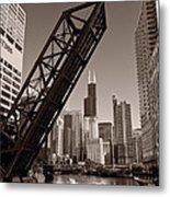Chicago River Traffic Bw Metal Print