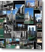 Chicago River Walk Collage Metal Print