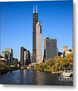 Chicago River With Willis-sears Tower Metal Print