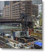 Chicago- Riverwalk Construction Metal Print