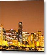 Chicago Skyine At Night Panoramic Photo Metal Print