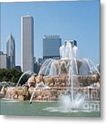Chicago Skyline And Fountain Metal Print