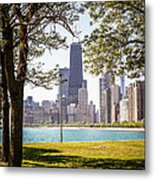 Chicago Skyline And Hancock Building Through Trees Metal Print