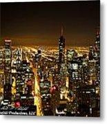 Chicago Skyline At Night I Metal Print