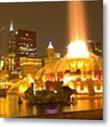 Chicago Skyline At Night With Metal Print