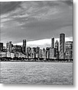 Chicago Skyline Black And White Metal Print
