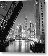 Chicago Skyline - Black And White Sears Tower Metal Print by Horsch Gallery