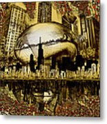 Chicago Skyline Drawing Collage 3 Metal Print