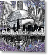 Chicago Skyline Drawing Collage Metal Print
