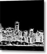 Chicago Skyline Fractal Black And White Metal Print