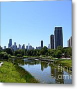 Chicago Skyline From Lincoln Park Zoo Metal Print