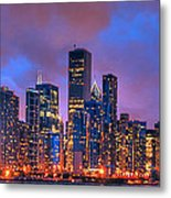 Chicago Skyline From Navy Pier View 2 Metal Print